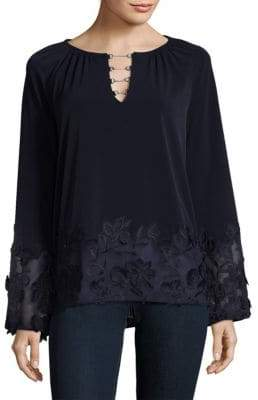 Elie Tahari Embroidered Bell Sleeve Top