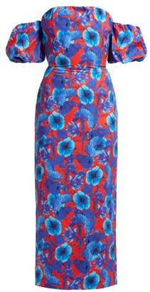 Borgo de Nor Adelita Floral Print Off The Shoulder Cotton Dress - Womens - Red Multi