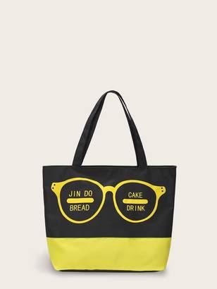Shein Letter Print Color Block Shopper Bag