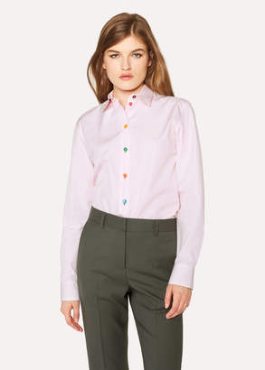 Paul Smith Women's Pink Cotton Shirt With Multi-Coloured Buttons