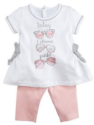 Mayoral Today I Choose Pink Sunglass-Print Shirt w/ Leggings, Size 6-36 Months