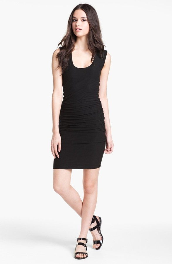 James Perse Ruched Wide Strap Dress