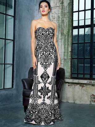 Shein LOVE&LEMONADE Zip Back Floor Length Sequin Tube Prom Dress