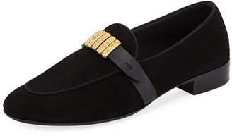 Giuseppe Zanotti Men's Suede Loafer with Gold Strap