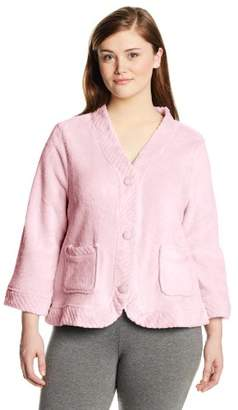 Casual Moments Women's Plus-Size Bed Jacket Velcro Closings