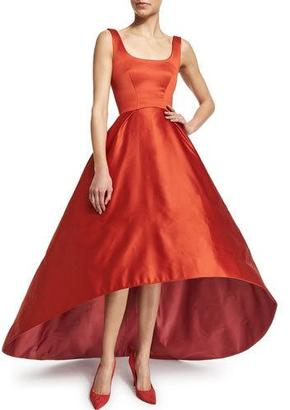 Zac Posen Sleeveless Fit-&-Flare High-Low Gown, Brick $7,990 thestylecure.com