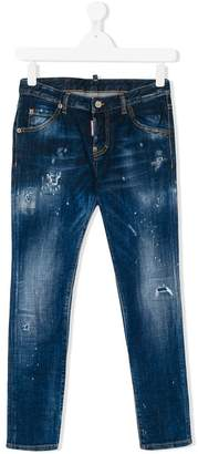 DSQUARED2 Teen distressed slim fit jeans