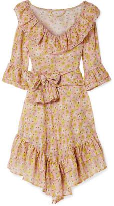 Lisa Marie Fernandez Laura Ruffled Floral-print Cotton-voile Dress - Pink