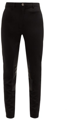 Burberry Lambskin Panel Stretch Crepe Trousers - Womens - Black