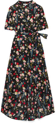 Equipment Imogene Floral-print Washed-silk Wrap Dress - Navy