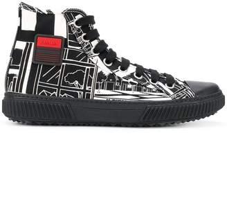 Prada printed hi-top sneakers