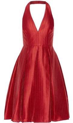 Halston Pleated Jacquard Halterneck Dress