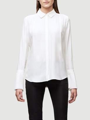 Frame Pintucked Silk Blouse
