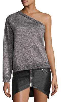 RtA One-Shoulder Metallic Sweater