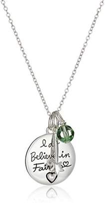 Disney Sterling Tinkerbell I Do Believe In Fairies Pendant Necklace