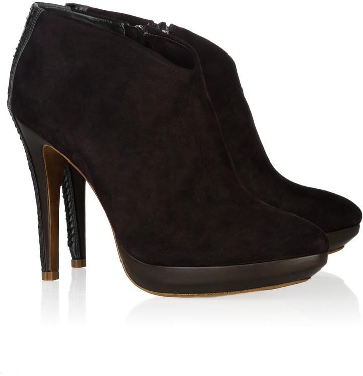 Alexandre Birman Python and suede ankle boots