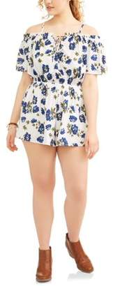 POOF Junior's Plus Off Shoulder Floral Print Romper with Ruffle Shorts and Tie Front