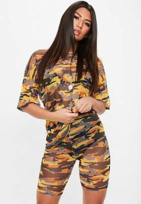 Missguided Orange Camo Mesh Biker Shorts