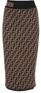 Fendi Intarsia stretch-knit pencil skirt