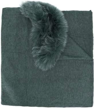 CHARLOTTE SIMONE fur trimmed shawl