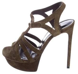 Saint Laurent Suede Platform Sandals
