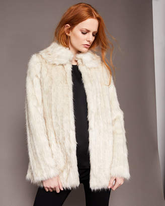 Ted Baker OLLEEN Faux fur collared coat