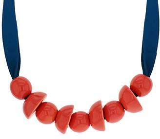 MARION VIDAL Metabolle Pink Enamelled Ceramic Navy Jersey Ribbon Necklace of 45cm
