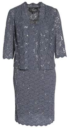 Alex Evenings Sequin Lace Cocktail Dress & Jacket