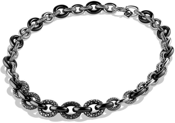 David Yurman Midnight Méange Oval Link Necklace with Diamonds