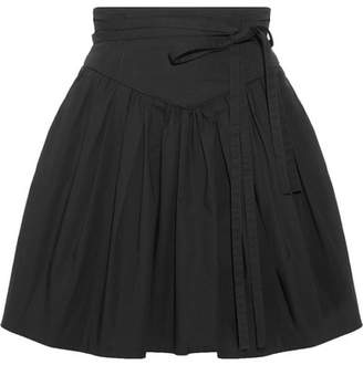 Marc Jacobs - Belted Gathered Stretch-cotton Poplin Mini Skirt - Black $295 thestylecure.com