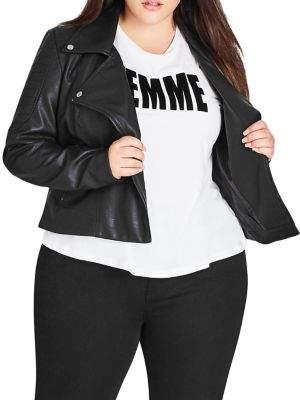 City Chic Plus Zip-Front Faux Leather Biker Jacket