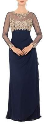 Xscape Evenings Petite Embroidered Long-Sleeve Gown