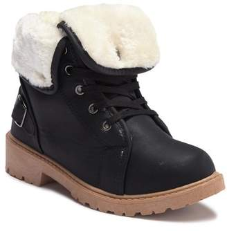 OLIVIA MILLER Faux Fur Lace-Up Ankle Boot (Little Kid & Big Kid)
