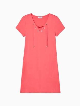 Calvin Klein V-Neck Lace-Up Short Sleeve Dress
