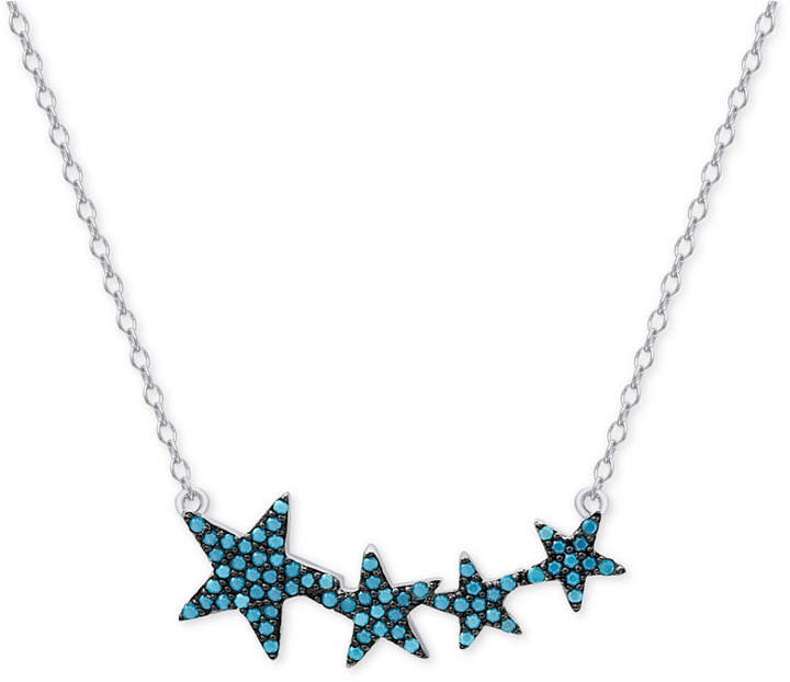 Macy's Manufactured Turquoise Stars Pendant Necklace in Sterling Silver