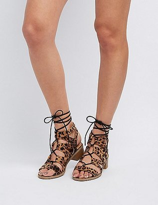 Leopard Lace-Up Gladiator Sandals $35.99 thestylecure.com