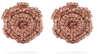 Rebecca De Ravenel Ava Crystal Embellished Rose Earrings - Womens - Pink