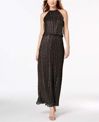 MSK Metallic-Dot-Print Halter Gown