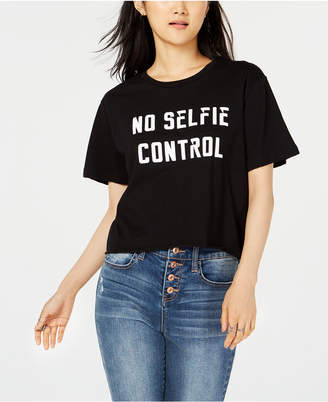 Rebellious One Juniors' Selfie Control Crop Graphic T-Shirt