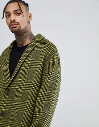 Asos DESIGN wool mix drop shoulder overcoat in yellow check