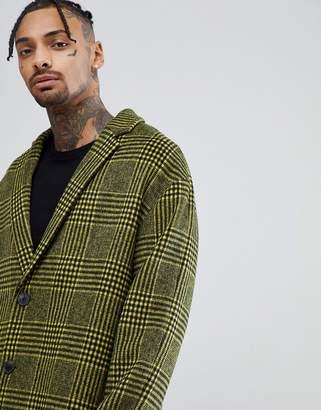 Asos Design Wool Mix Drop Shoulder Overcoat In Yellow Check