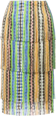 Pleats Please By Issey Miyake fringed skirt