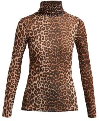 Ganni Tilden Roll Neck Leopard Print Mesh Top - Womens - Leopard