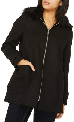 Dorothy Perkins Hooded Duffle Coat with Faux Fur Trim