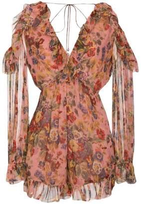 Zimmermann Silk Floral Print Cold-Shoulder Playsuit