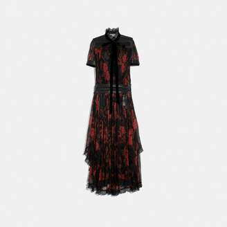 Coach Rose Print Ruffle Dress