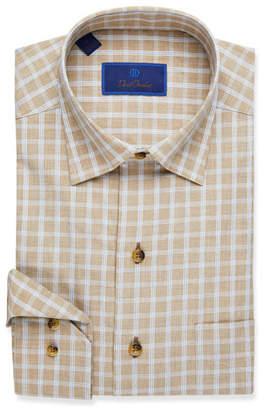David Donahue Men's Grid-Pattern Dress Shirt, Dune
