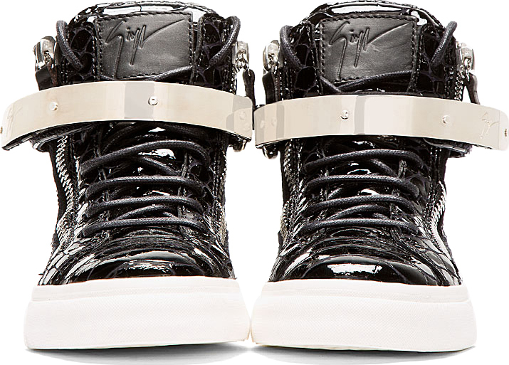 Giuseppe Zanotti SSENSE Exclusive Black Patent Croc-Embossed Atlantide Sneakers