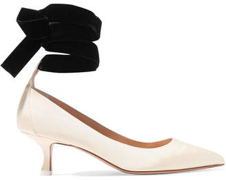 ATTICO Bella Moire And Velvet Pumps - Cream