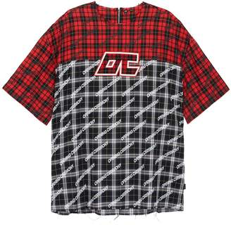 Opening Ceremony Logo print colourblock tartan plaid twill unisex T-shirt